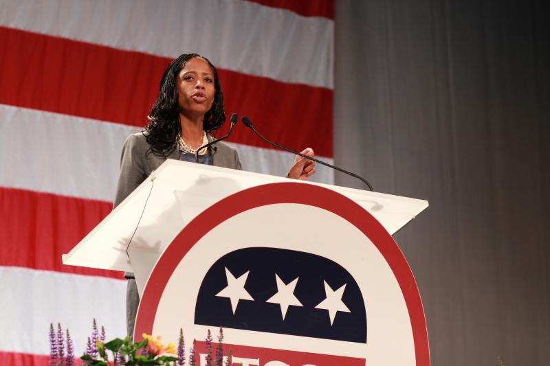 Mia Love speaks to delegates at the Utah GOP Convention