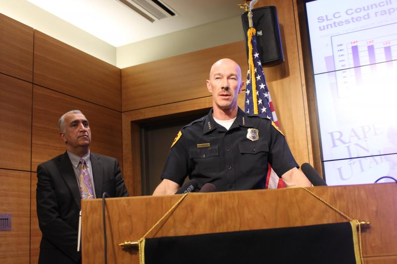 Salt Lake City Police Chief Chris Burbank with Salt Lake County District Attorney Sim Gill.
