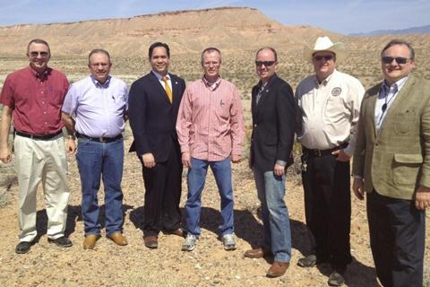 Lt. Governor Spencer Cox and Attorney General Sean Reyes meet with officials from the BLM