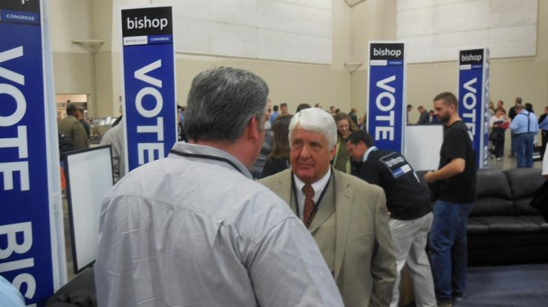 Congressman Rob Bishop speaks with a delegate at the Utah Republican Convention