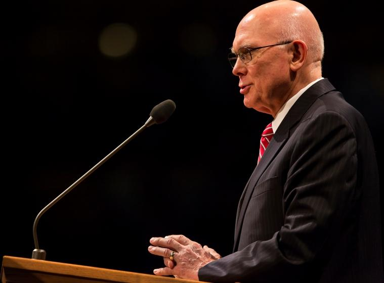 Elder Dallin H. Oaks of the Quorum of Twelve Apostles of the Church of Jesus Christ of Latter-day Saints speaking at Utah Valley University's Constitutional Symposium on Religious Freedom