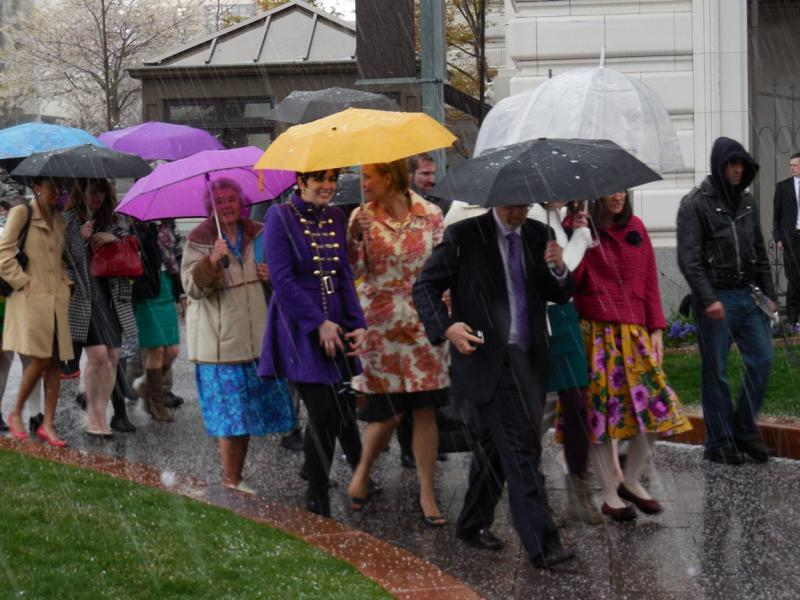 Members and supporters of Ordain Women walk to Temple Square, hoping to attend the priesthood session of General Conference, Saturday, April 5, 2014