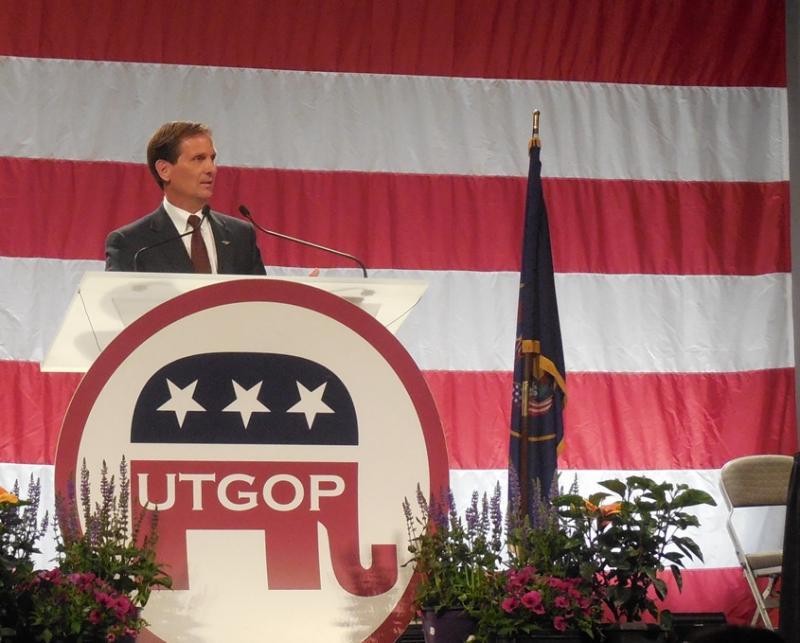 Congressman Chris Stewart speaks to the Utah Republican Convention