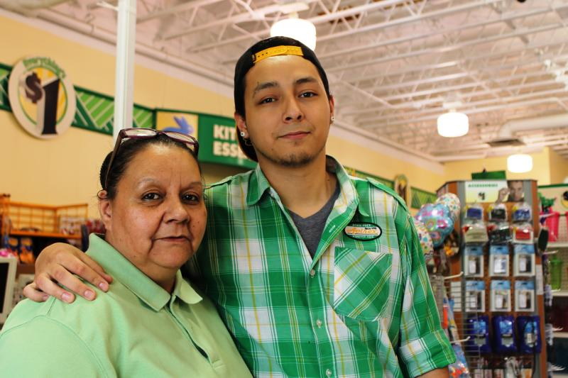 Ilene Martinez works as an assistant manager at a Dollar Tree store in Salt Lake City to support herself and her son Blas Joe Valdez who has lupus, but the family can not afford health insurance.