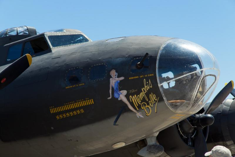 This B-17 is not the original Memphis Belle but another one dressed to look like it that was used in the movie The Memphis Belle