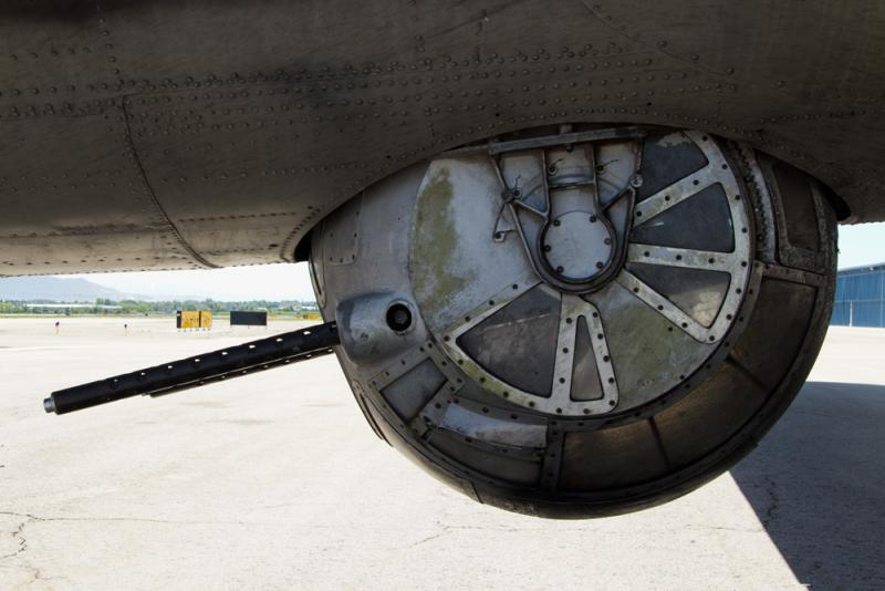 The ball turret gun positioned under the B-17. Sam Wyrouck sat here during his service in WWII