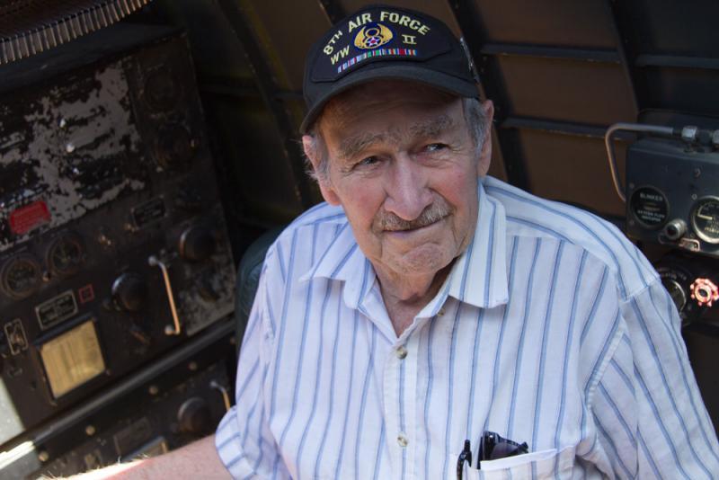 WWII Veteran Sam Wyrouck sitting inside the B-17