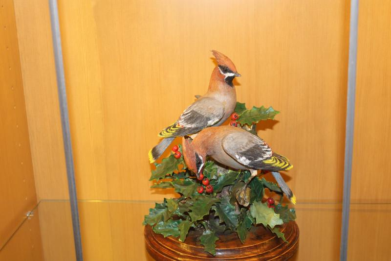 This painted wood and copper sculpture of Bohemian waxwings was created by Elder Boyd K. Packer of the Church of Jesus Christ of Latter-day Saints.  It's part of a dedicated exhibit at the Monte L. Bean Life Science Museum at Brigham Young University