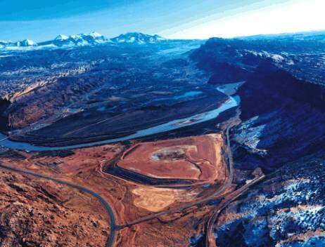 A uranium mill tailings pile near Moab, Utah.