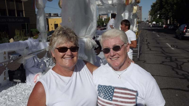 Deb Anderson and P.J. Jennings of West Jordan were among the couples legally married in Utah in December who participated in Sunday's Pride Parade