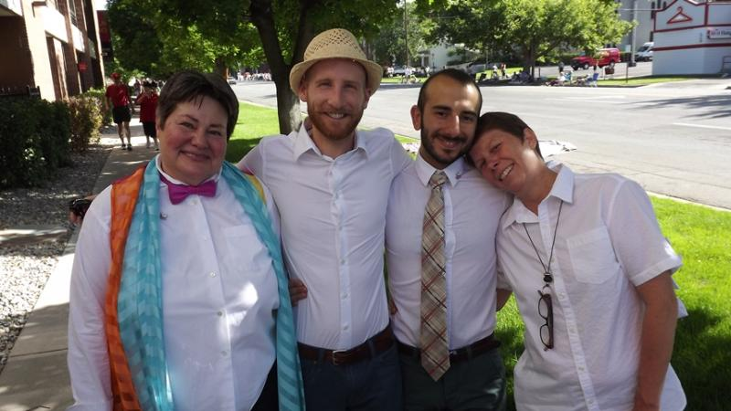 (L-R) Kate Call, Derek Kitchen, Moudi Sbeity and Kody Partridge are four of the plaintiffs in Kitchen v. Herbert, the case on same-sex marriage now pending in a federal appeals court.  They were also grand marshals in Sunday's Pride Parade.
