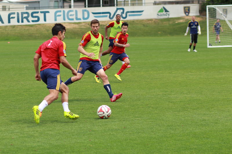 RSL Players scrimmage during a training session at American First Field in Sandy