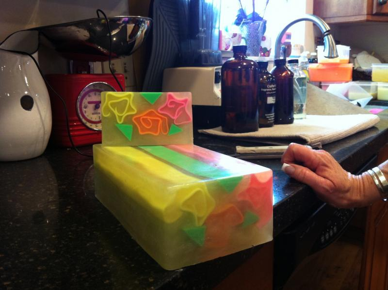 A colorful loaf of soap in Kathy Wawrzyniak's kitchen.