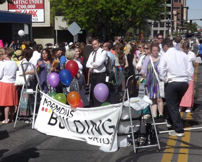 Mormons Building Bridges gather to march in Salt Lake City's annual Pride Parade, 6/8/2014