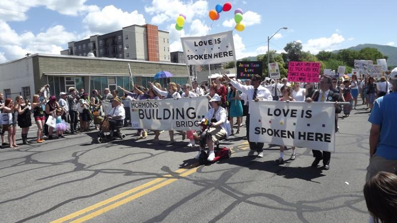 Mormons Building Bridges once again brought a large contingent of Latter-day Saints to Salt Lake City's Pride Parade