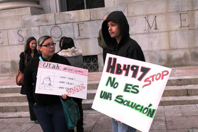 Protestors at the US Courthouse in Salt Lake City for a hearing on HB 497. (February 15, 2013)