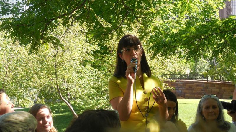 Ordain Women founder Kate Kelly speaks to a rally supporting her at City Creek Park in Salt Lake City