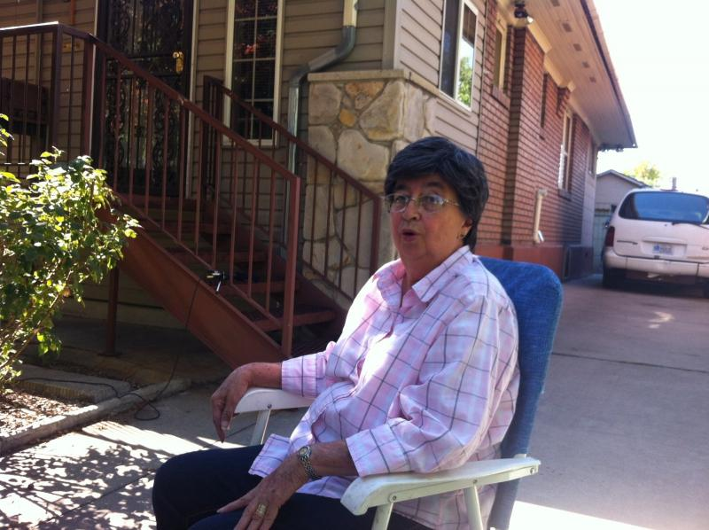 Rachel Casey sitting outside her home. She recieves tax relief assistance from Salt Lake County.