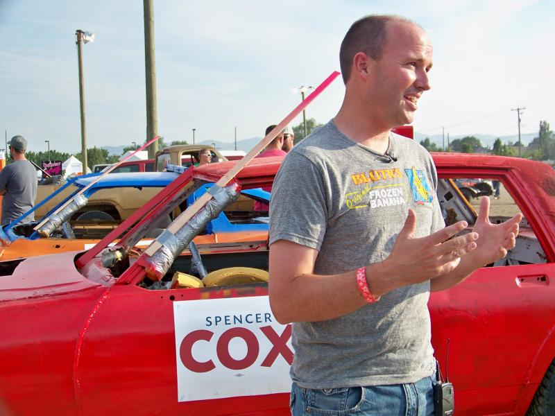 Lieutenant Governor Spencer Cox getting ready to take on Salt Lake County Mayor Ben McAdams in the demolition derby at the Salt Lake County Fair.