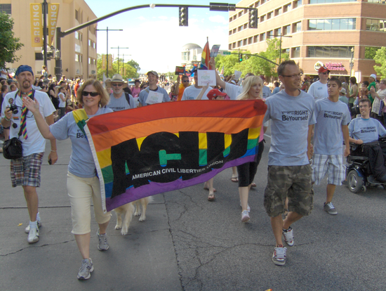ACLU of Utah staff and volunteers march in the Utah Pride Parade.