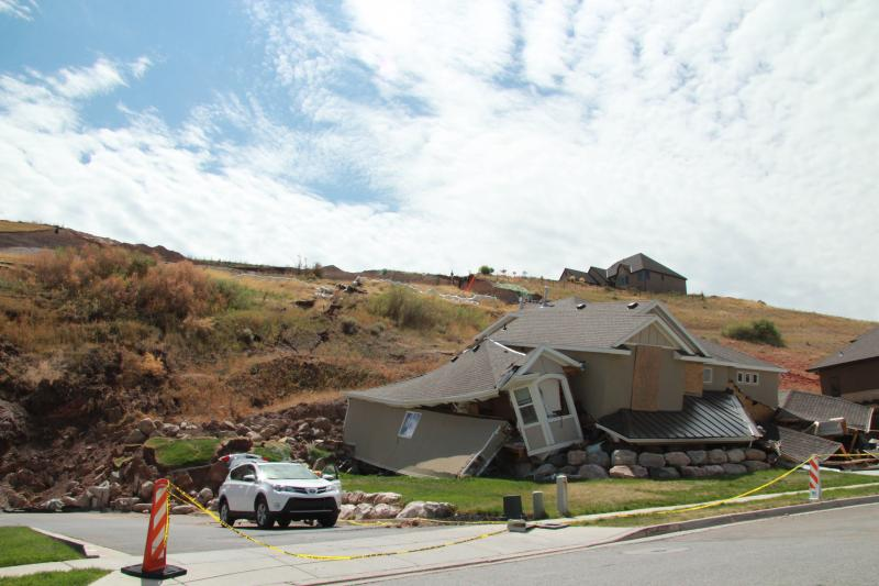 The North Salt Lake Landside destroyed this home.