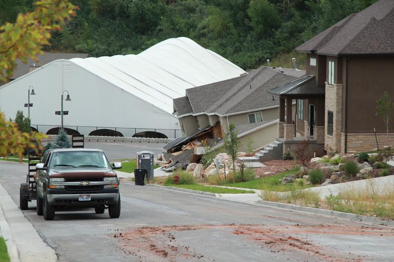 A landslide destroys a house in North Salt Lake