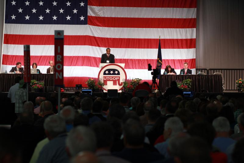 File: Utah GOP Chairman James Evans speaks at the Utah GOP convention