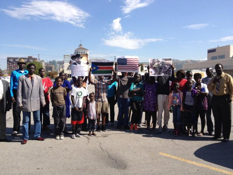 The South Sudanese Nuer community in Salt Lake City prepares for a demonstration on August 6, 2014.
