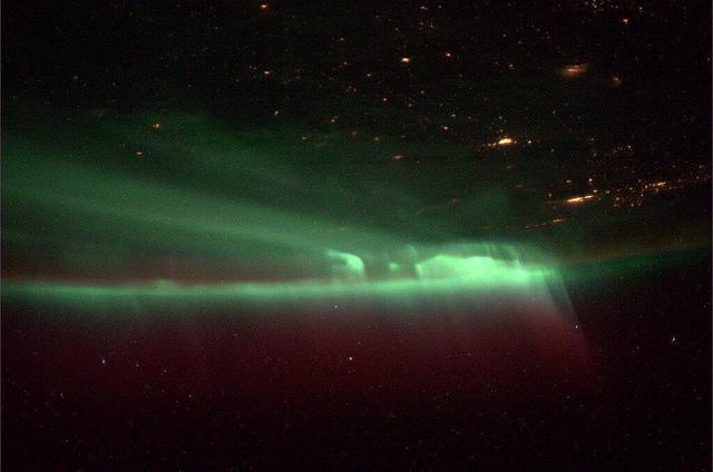 A view of the Northern Lights as seen from the International Space Station