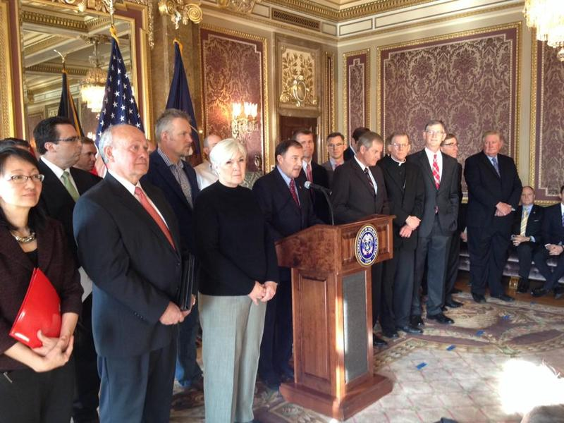 Governor Gary Herbert assembled a group of influential Utahns to reveal the details of his Healthy Utah plan.