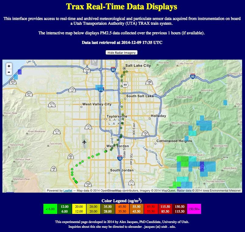 A screen shot of the data collected on a TRAX train shows the variation in air quality as it moves through the valley.