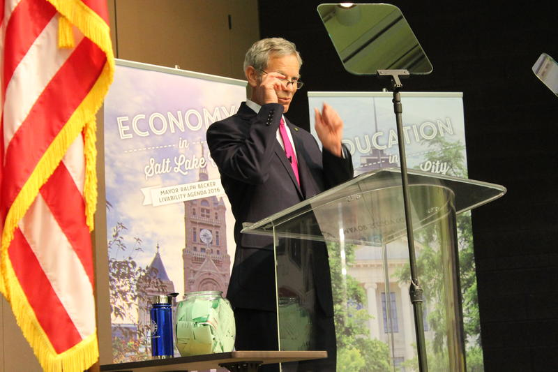 Salt Lake City Mayor Ralph Becker addresses Whittier Elementary School students.