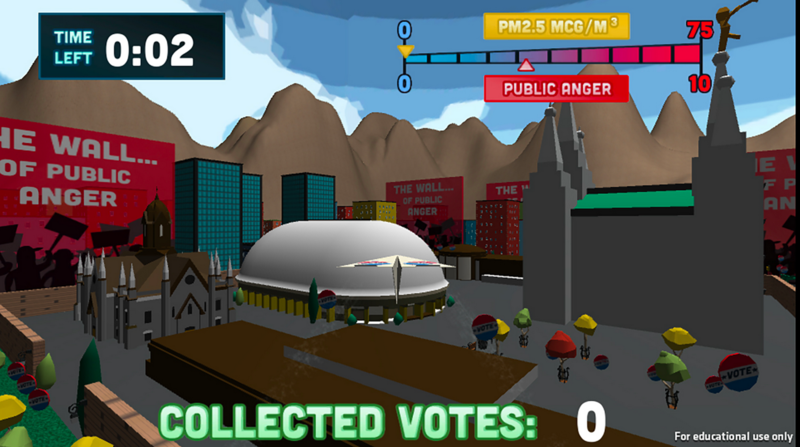 The video game helps students understand personal and political decisions behind cleaning up the air.