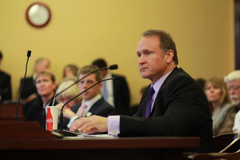 Sen. Mark Madsen speaks about his bill legalizing medical marijuana during a Senate committee meeting