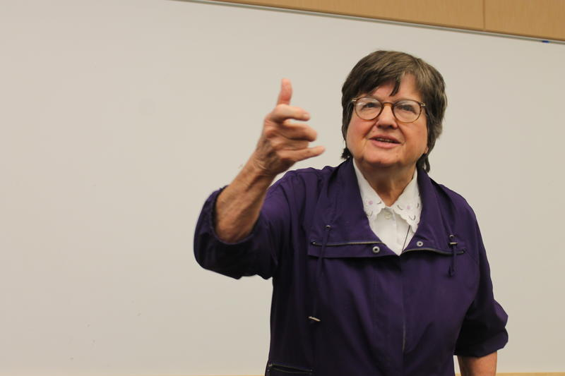 Sister Helen Prejean talks about death by firing squad in her visit to students at Westminster College. (March 24, 2015)
