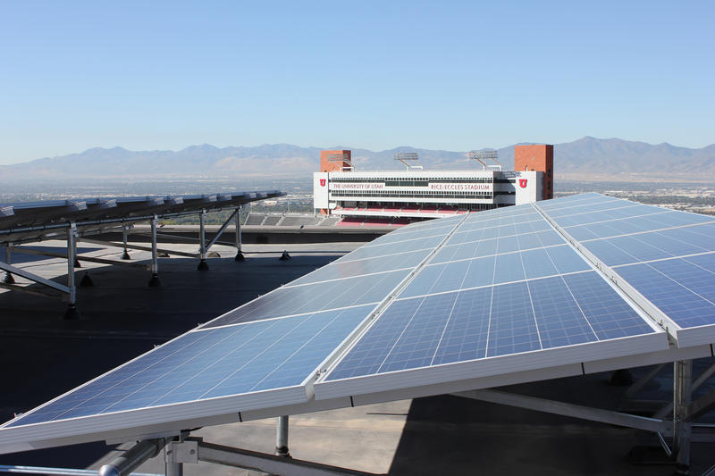 Two of the solar arrays on the west penthouse of the J. Willard Marriott Library