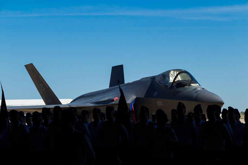 An F-35 at Hill Air Force Base at the change of command ceremony for the 388th Fighter Wing