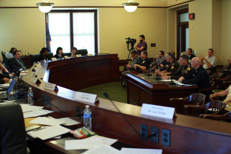 Director Scott Stephenson and Col. Daniel Fuhr testify before the law enforcement and criminal justice interim committee