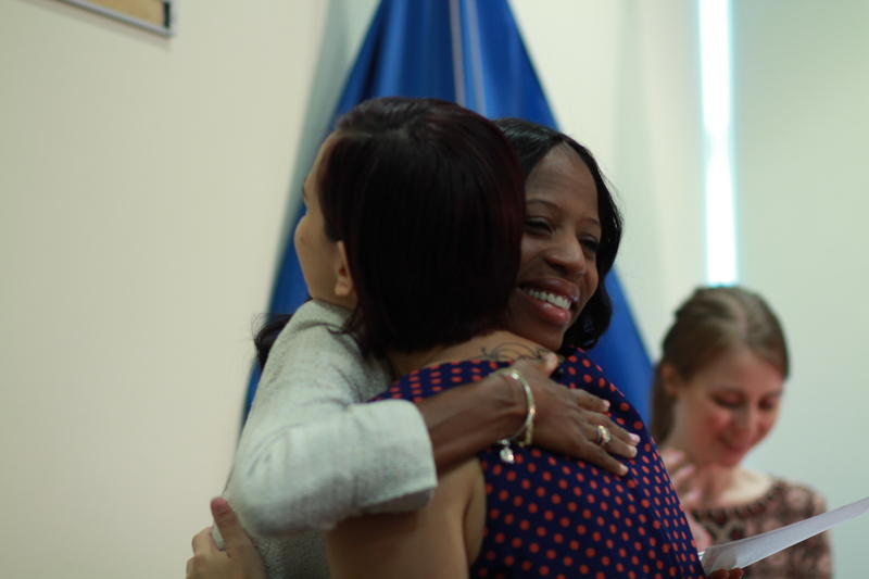 Rep. Mia Love, R-UT, congratulates a new U.S. Citizen at a naturalization ceremony on August 24, 2015