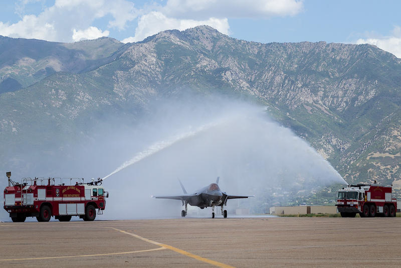 The new F-35 receives a ceremonial welcome to Hill Air Force Base