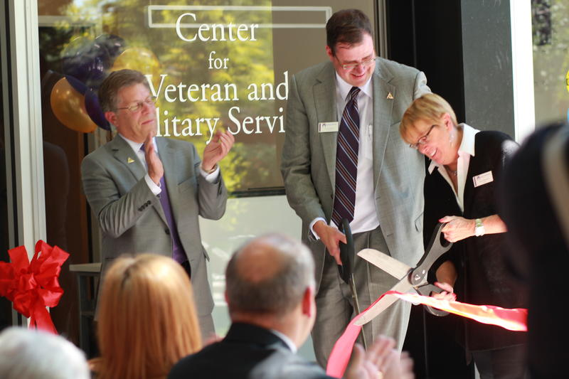 Westminster President Stephen Morgan, O. Wood Moyle, and Kim Adamson cut the ribbon on the new Center for Veteran & Military Services