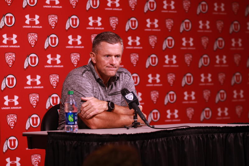 University of Utah Football Coach Kyle Whittingham addresses the media September 14, 2015