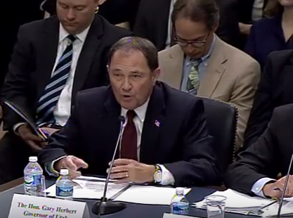 Governor Gary Herbert testified Wednesday before the House Natural Resources Committee, which is chaired by U.S. Rep. Rob Bishop, a fellow Utah Republican.