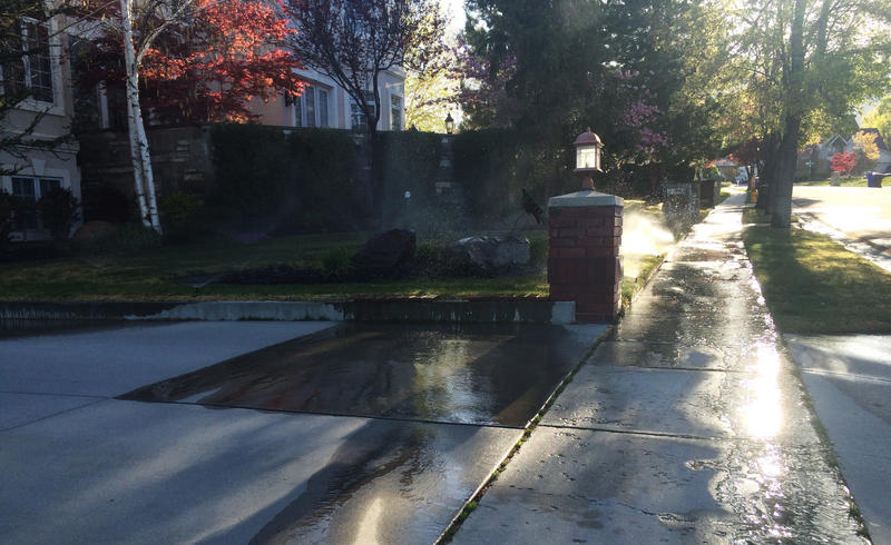 Residential automatic sprinkler system has water wasting potential.