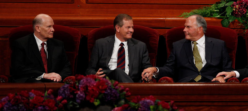 Elder Dale G. Renlund (left) and Elder Gary E. Stevenson (center) and Elder Ronald A. Rasband were named as the three newest apostles to the Quorum of the Twelve Apostles during the afternoon session of general conference, Saturday, October 3, 2015
