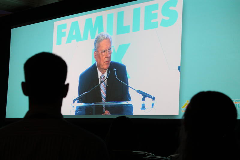 Elder M. Russell Ballard of the Quorum of the Twelve Apostles speaks at the World Congress of Families in the ballroom of the Grand America Hotel in Salt Lake City. (October 27, 2015)