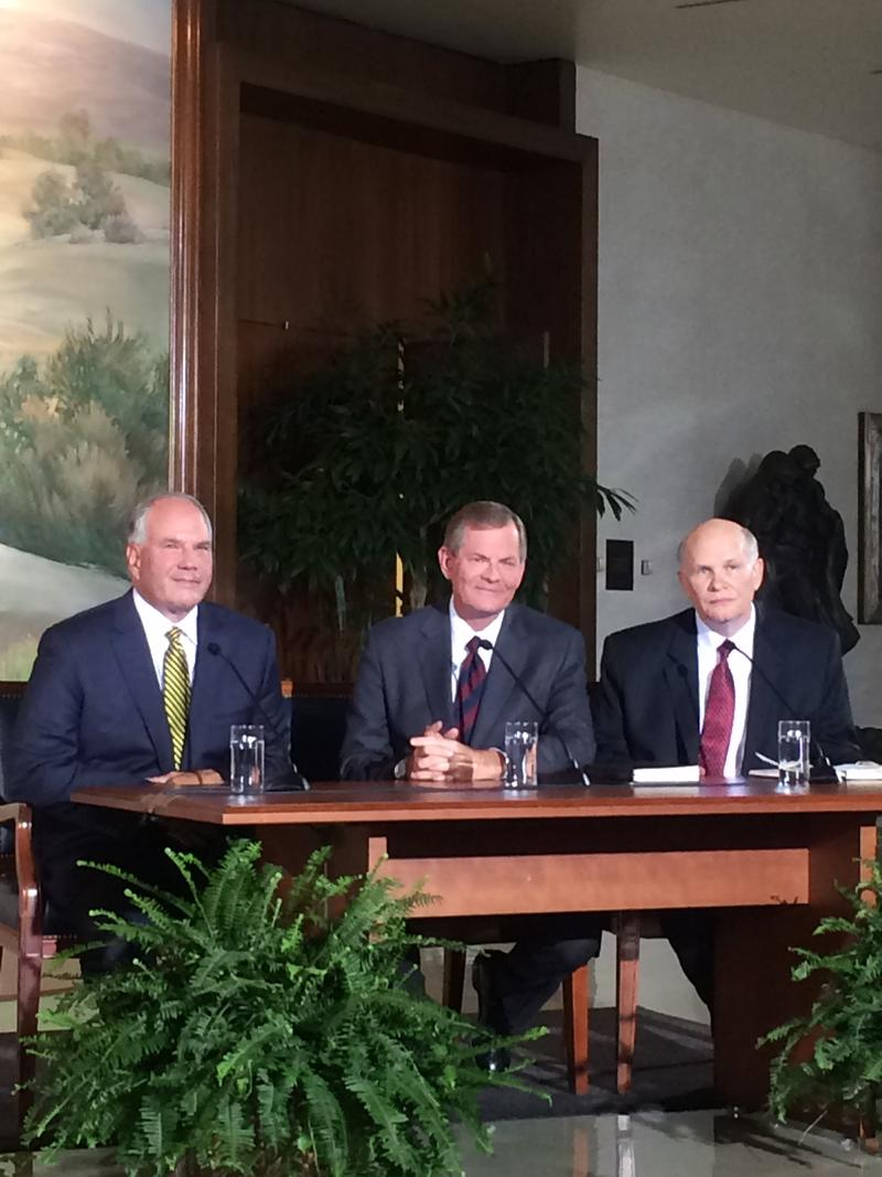 From left to right, Elder Ronald A. Rasband, Elder Gary E. Stevenson and Elder Dale G. Renlund.