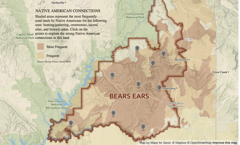 A map of key cultural sites that would be protected in the Bears Ears National Monument proposal unveiled in Washington Thursday.
