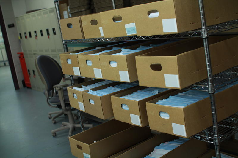 Vote by mail ballots wait to be counted by the Salt Lake County Clerk