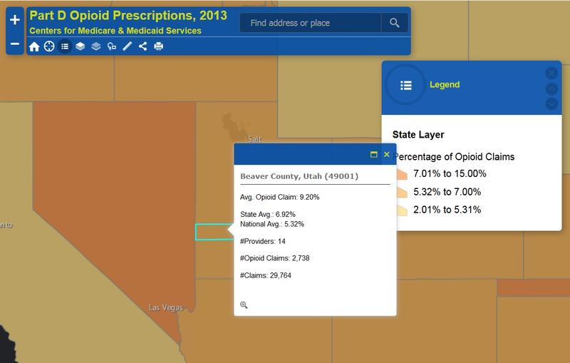 A screenshort of the interactive mapping tool from U.S. Centers for Medicaid and Medicare Services shows how Beaver County compares to the state and nation in opioid claims.